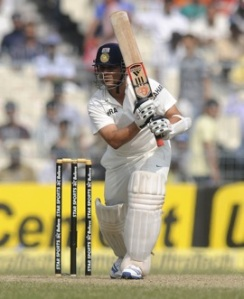 Sachin Tedulkar batting against the West Indies today.  He was out LBW - unluckily, it transpired - for 10 runs.